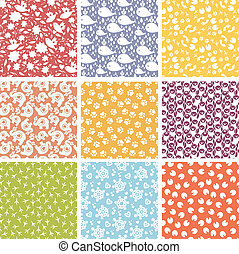 Set of nine cute elements seamless patterns backgrounds