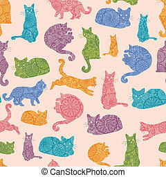 Colorful cats silhouettes seamless pattern background -...