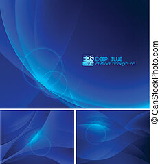 Deep blue Abstract Background - A set of deep blue abstract...