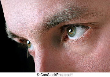 Closeup, shot, man's, eyes