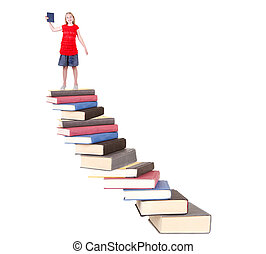 teen on top of book staircase