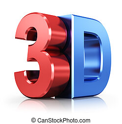 3D logo - Metallic 3D logo isolated on white background with...
