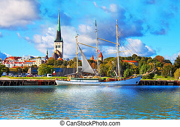 Panorama of Tallinn, Estonia - Scenic summer panorama of...