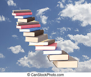 a stair case of books floating on a cloudy sky background