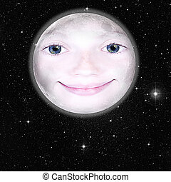 Girls face in shape of a full moon - Girls face in the shape...