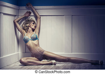 Beauty alluring young woman in sexy lingerie