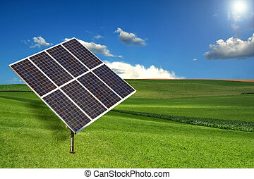 Solar Panel Sun Tracking System in a Meadow