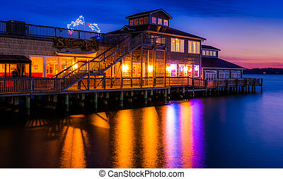 Solomon's Pier Restaurant reflecting in the Patuxent River...