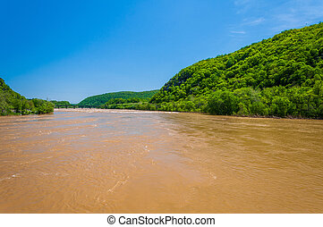 Spring flooding on the Potomac River in Harpers Ferry, West...