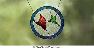Humming bird stained glass art. - Hummingbird stained glass...