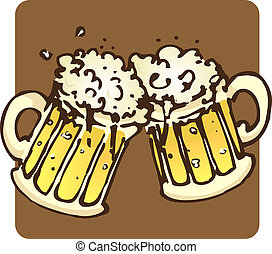 Beer Mugs - Two mugs filled to the brim with bubbling beer