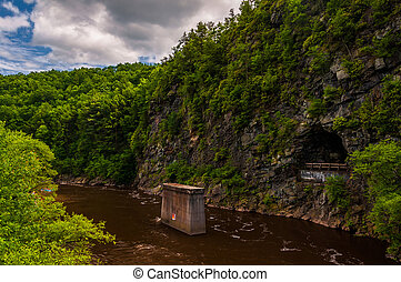 The Lehigh River Gorge, in the Pocono Mountains of...