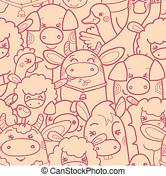 Cute farm animals seamless pattern background - Vector cute...