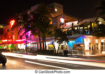 Ocean Drive at night, Miami beach - Ocean Drive scene at...