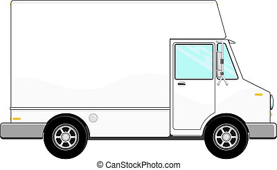 white cargo truck vector - illustration of small cargo truck...