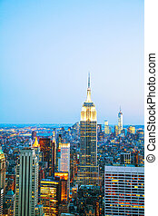 New York City cityscape in the night - New York City...