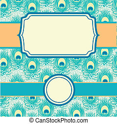 Peacock feathers set of frames seamless pattern background -...