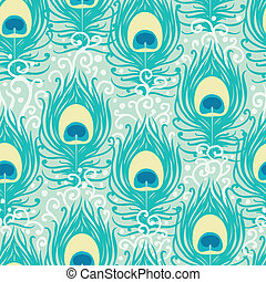 Peacock feathers vector seamless pattern background with...