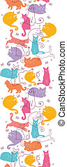 Colorful Cats Vertical Seamless Pattern Background Border -...