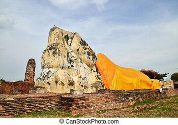 Ruined Old Temple of Ayuthaya, Thailand,