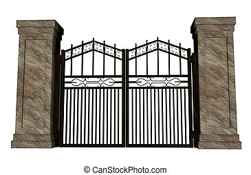 Iron gate - Closed big iron gate in white background