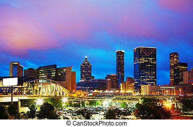 Downtown Atlanta at night time - Downtown Atlanta, Georgia...