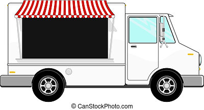 business food bus vector - food bus with awning isolated on...