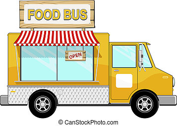 food bus with awning and sign board - illustration of food...