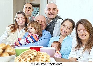 grand, heureux, Trois, Générations, famille