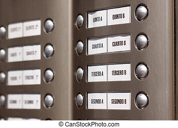 Close-up of building intercom Numbers in Spanish