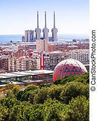 Top view of Badalona and Sant Adria de Besos - Top view of...