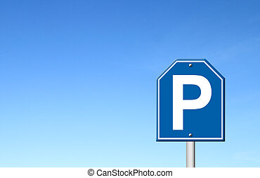 parking sign with blue sky blank for text