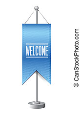 welcome sign stand banner illustration design over white