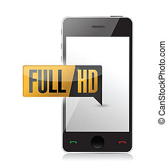 smart phone with Full HD High definition button illustration...