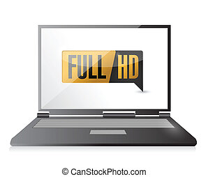 laptop with Full HD. High definition button. illustration...