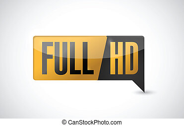 Full HD. High definition button. illustration design