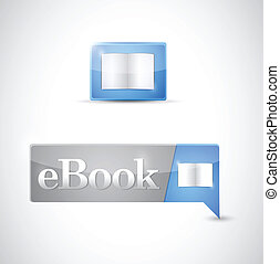 Ebook icon button blue download illustration design