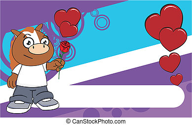 horse kid cartoon background4