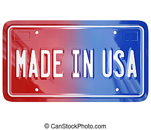 Made in the USA License Vanity Plate Car - A red white and...