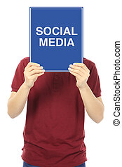 Social Media - A young man holding a signboard indicating...