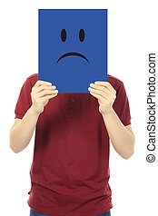 Sad Face - A young man holding a signboard with a sad face...