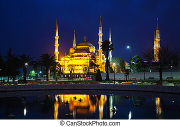 Sultan Ahmed Mosque (Blue Mosque) in Istanbul at the night...