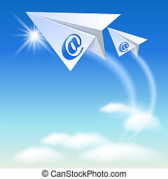 Two paper airplane with e-mail sign flying up in the sky