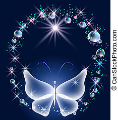 Transparent butterfly and bubbles - Transparent butterfly,...