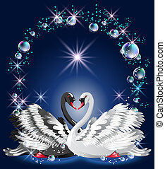 Elegant white and black swan on blue background and bubbles...