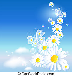 Butterflies and daisy in the sky - Transparent butterflies...