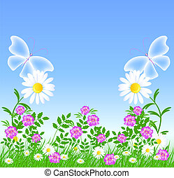 Daisies and transparent butterflies - Daisies on the green...