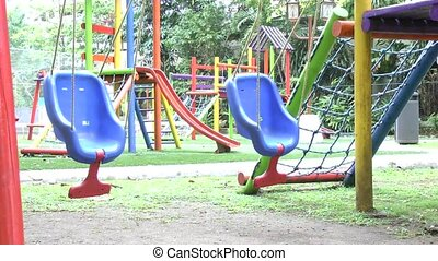 Empty swing set. Missing child concept.