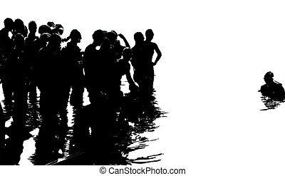 Swimmers in Triathlon, starting the race, high contrast...