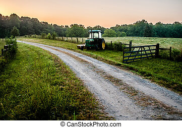 old tractor on a farm